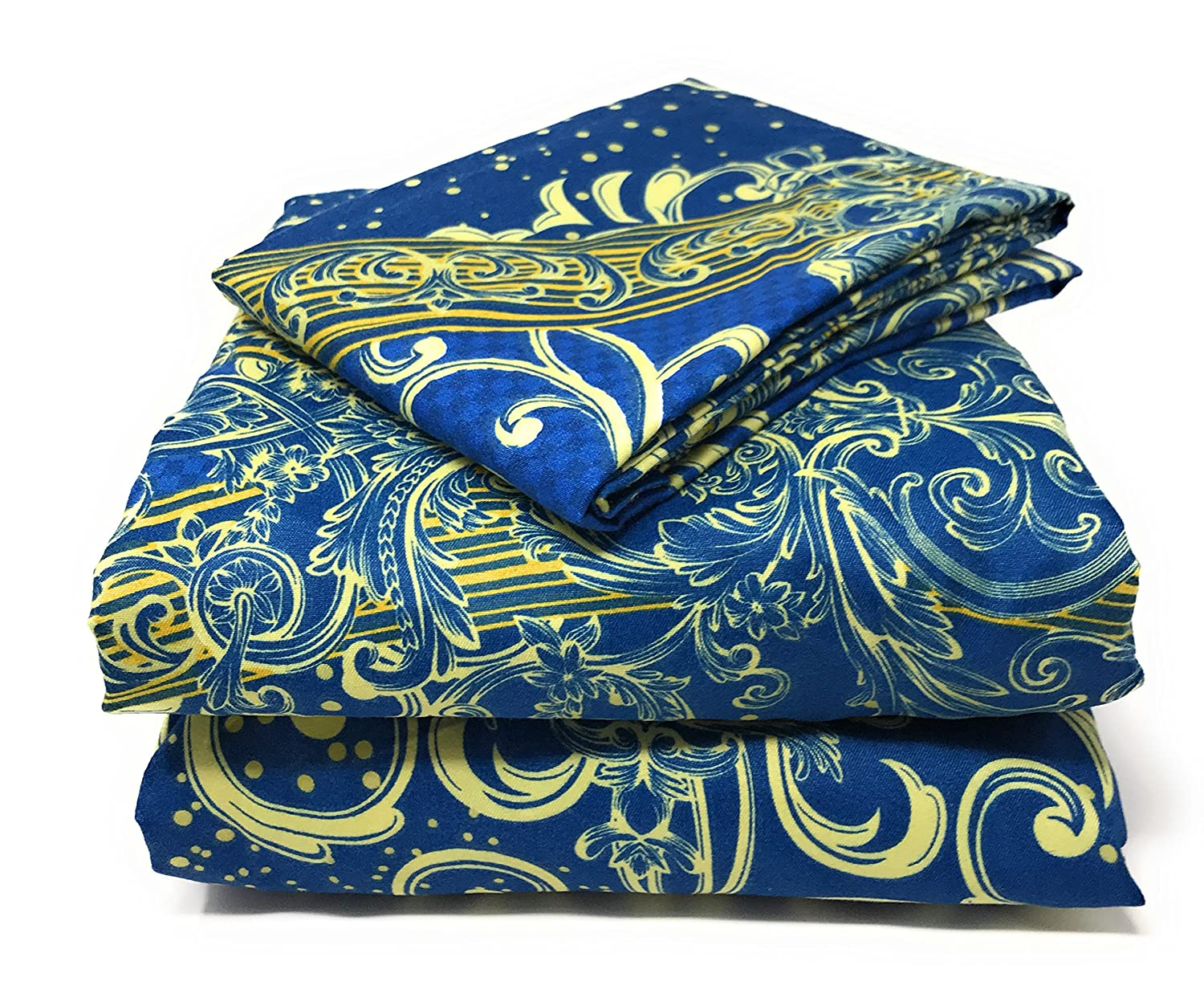 Luxurious Cotton Deep Pocket Sheet with Pillowcases Frozen Forest Tache White Blue Paisley Damask Fitted Sheet Only 3 Piece Set California King