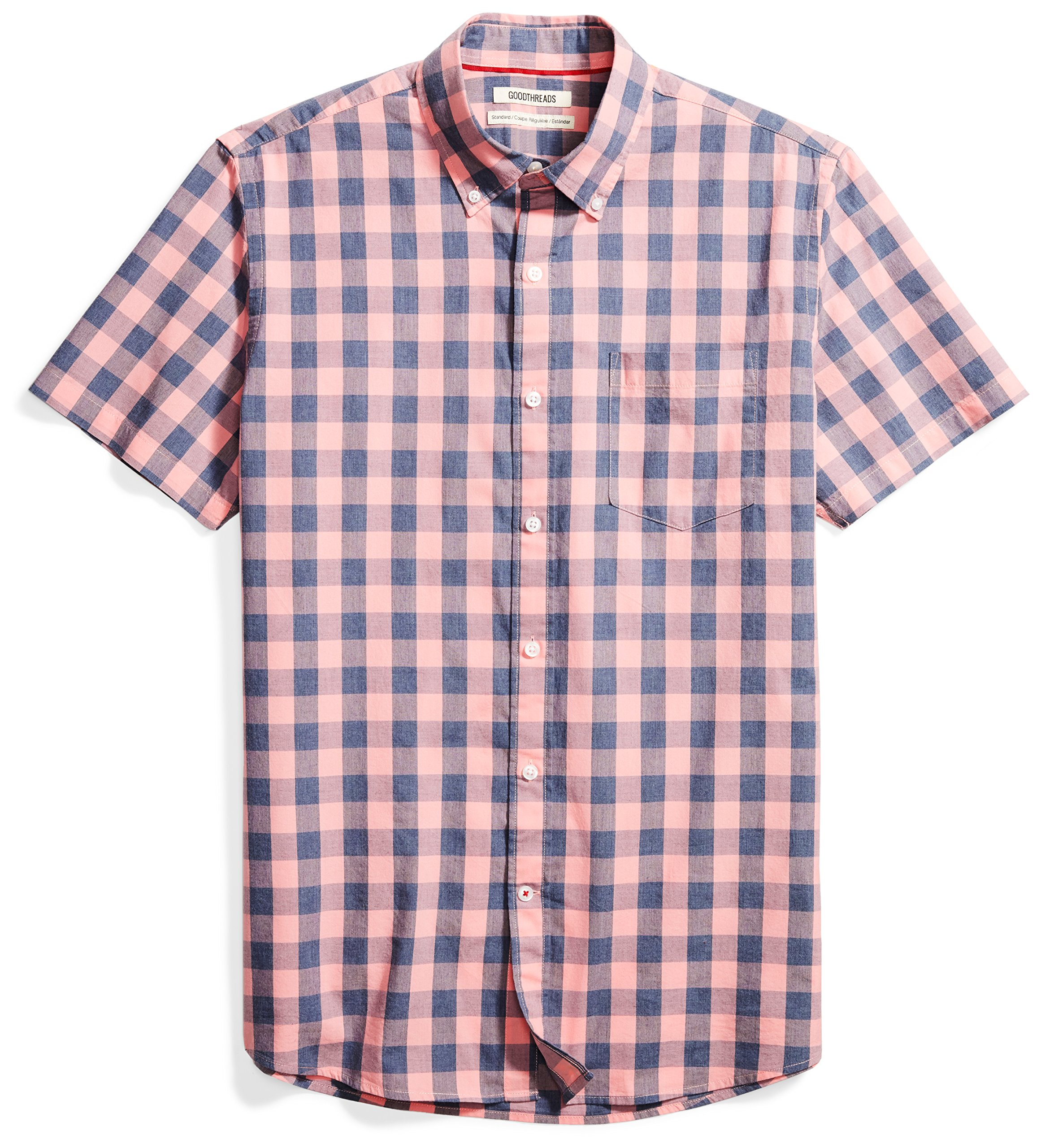 Goodthreads Men's Standard-Fit Short-Sleeve Heathered Scale Check Shirt, Pink/Blue, Large by Goodthreads (Image #1)