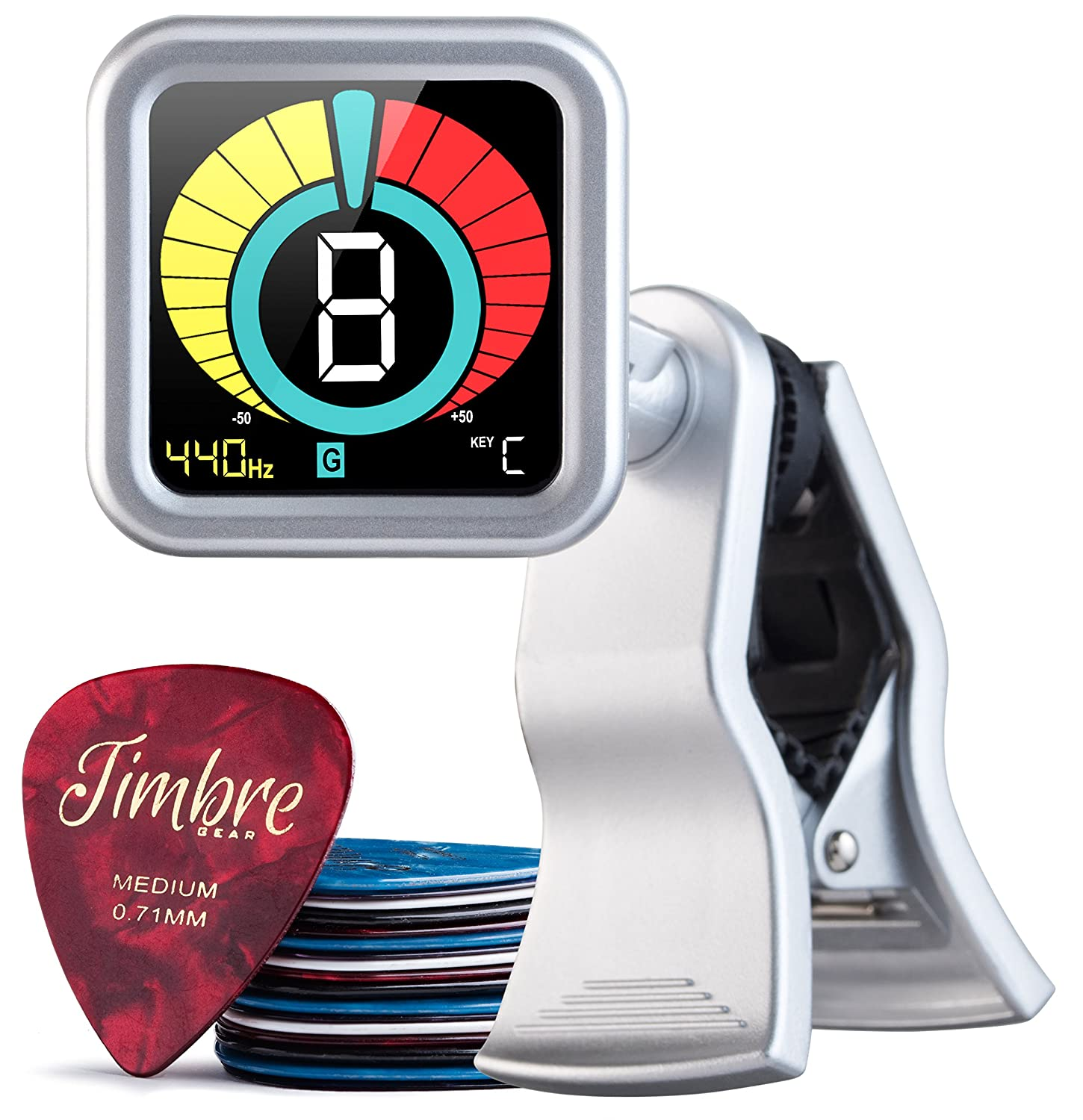 TimbreGear Chromatic Clip-On Tuner Guitar Tuner For - Acoustic Guitar, Electric Guitar, Bass Guitar, Ukulele, Violin, Premium Picks Sampler 20 Pack In Thin, Medium & Heavy Gauges (Pitch Black) TRGG1BLK2000