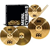 """Meinl Cymbal Set Box Pack with 13"""" Hihats, 14"""" Crash, Plus Free 10"""" Splash, Sticks, Lessons – HCS Traditional Brass – Made in Germany, 2-Year Warranty (HCS1314-10S)"""