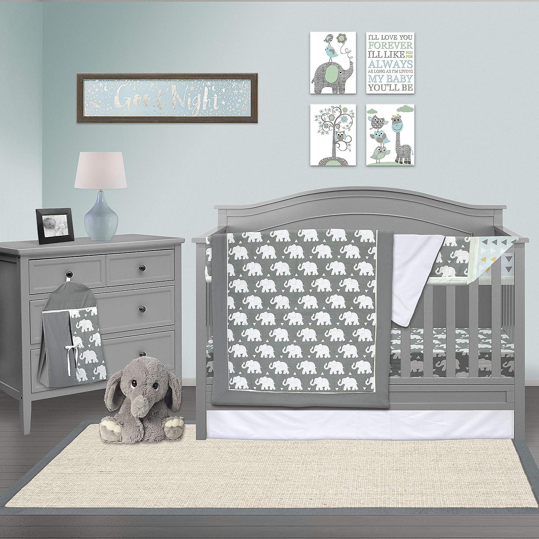 Pam Grace Creations 6 Piece Crib Bedding Set, Grey/Indie Elephant, Standard Crib by Pam Grace Creations   B01JLP5R5M