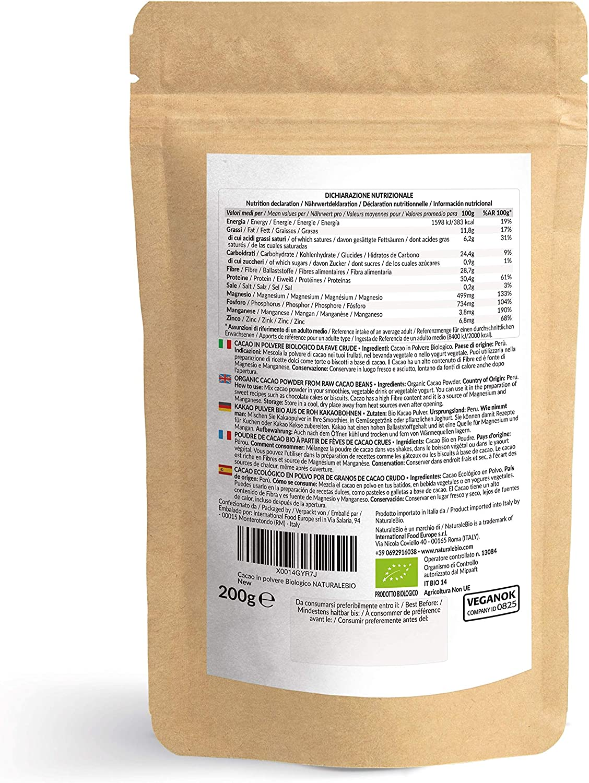 Cacao Ecológico en Polvo 200 g. Organic Cacao Powder. 100% Bio ...