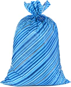 "Hallmark 56"" Large Holiday Plastic Gift Bag (Blue Stripes with Gift Tag) for Father's Day, Hanukkah, Christmas, Birthdays and More"