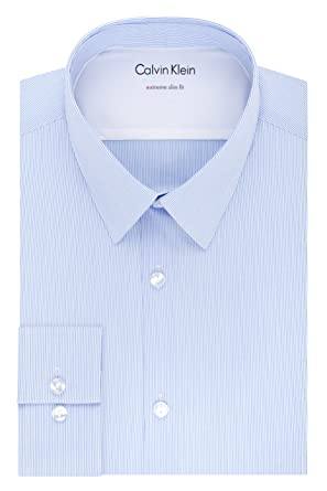 1940ffbc0d95 Calvin Klein Men's Thermal Stretch Xtreme Slim Fit Stripe Dress Shirt, Blue  Frost, 14""