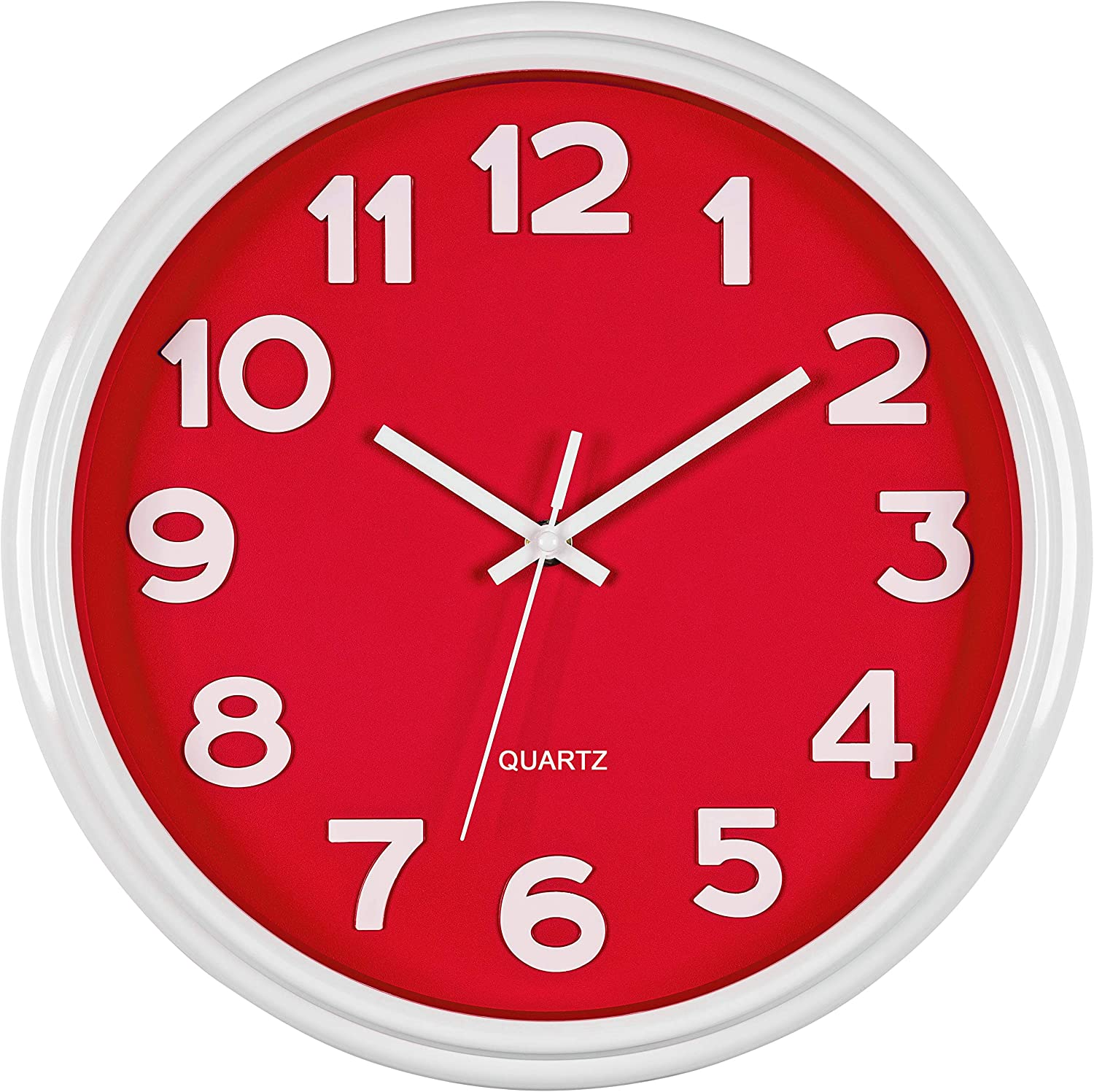 Bernhard Products Red Wall Clock 12.5 Inch Silent Non-Ticking Modern Stylish Quartz Clocks for Home Kitchen Office Bedroom Bathroom Nursery Kids School Classroom Battery Operated Easy to Read