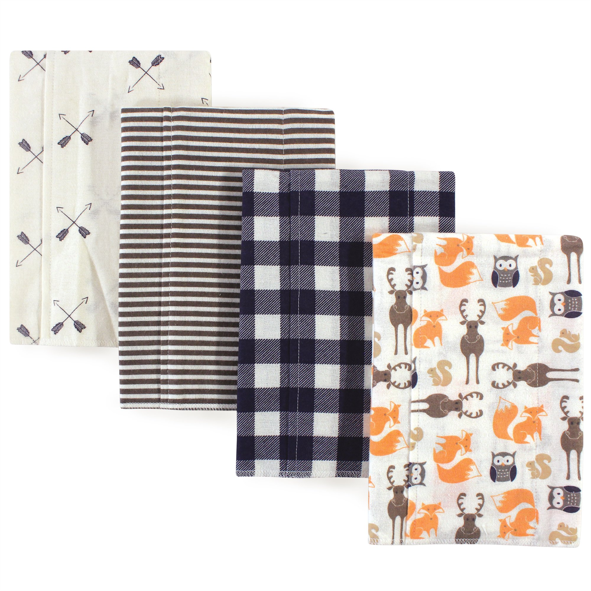 Hudson Baby Flannel Burp Cloth, 4 Pack, Forest, One Size