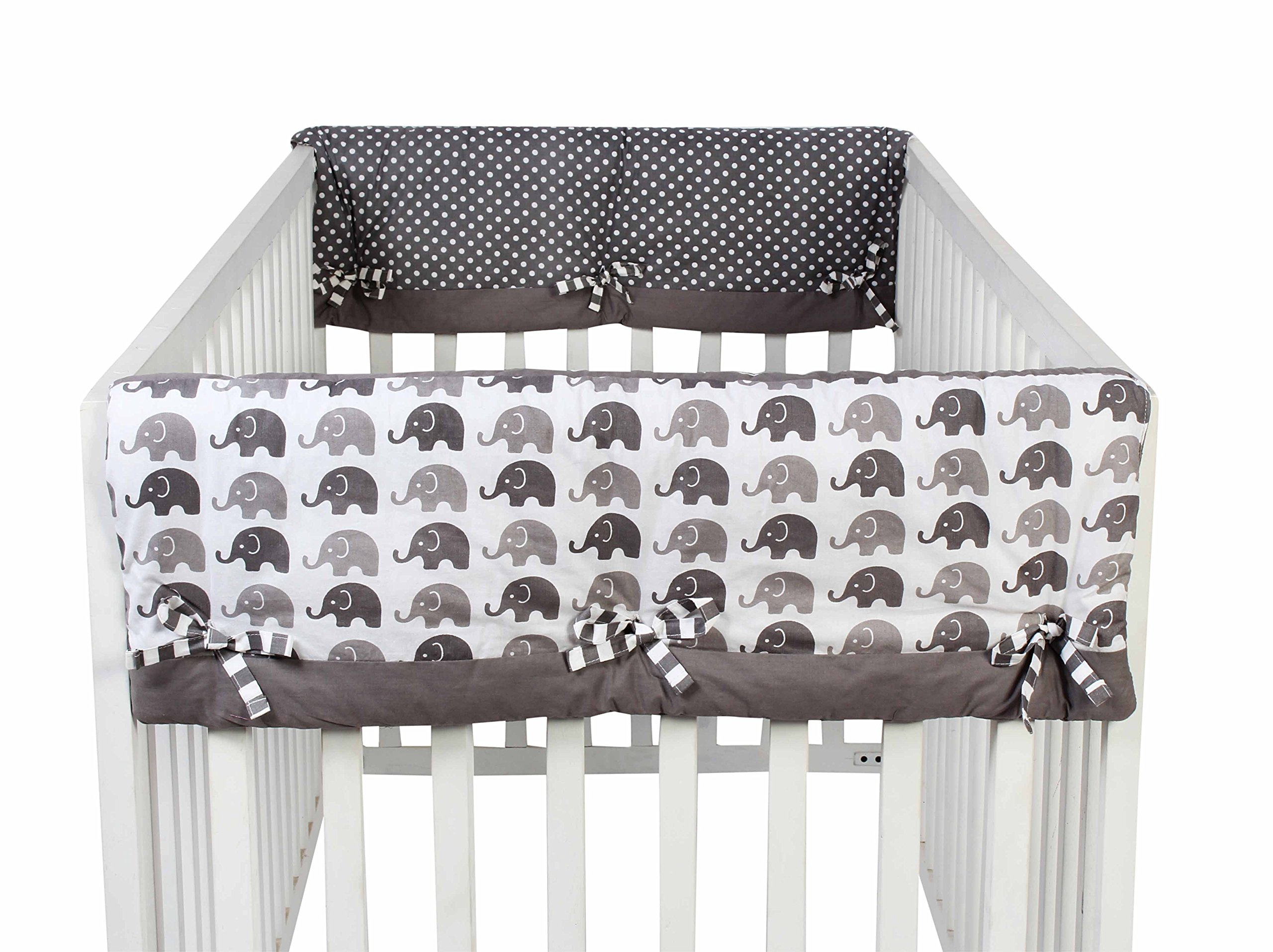 Bacati Elephants Unisex 2 Piece Crib Rail Guard Cover Sides for US Standard Cribs, Grey by Bacati