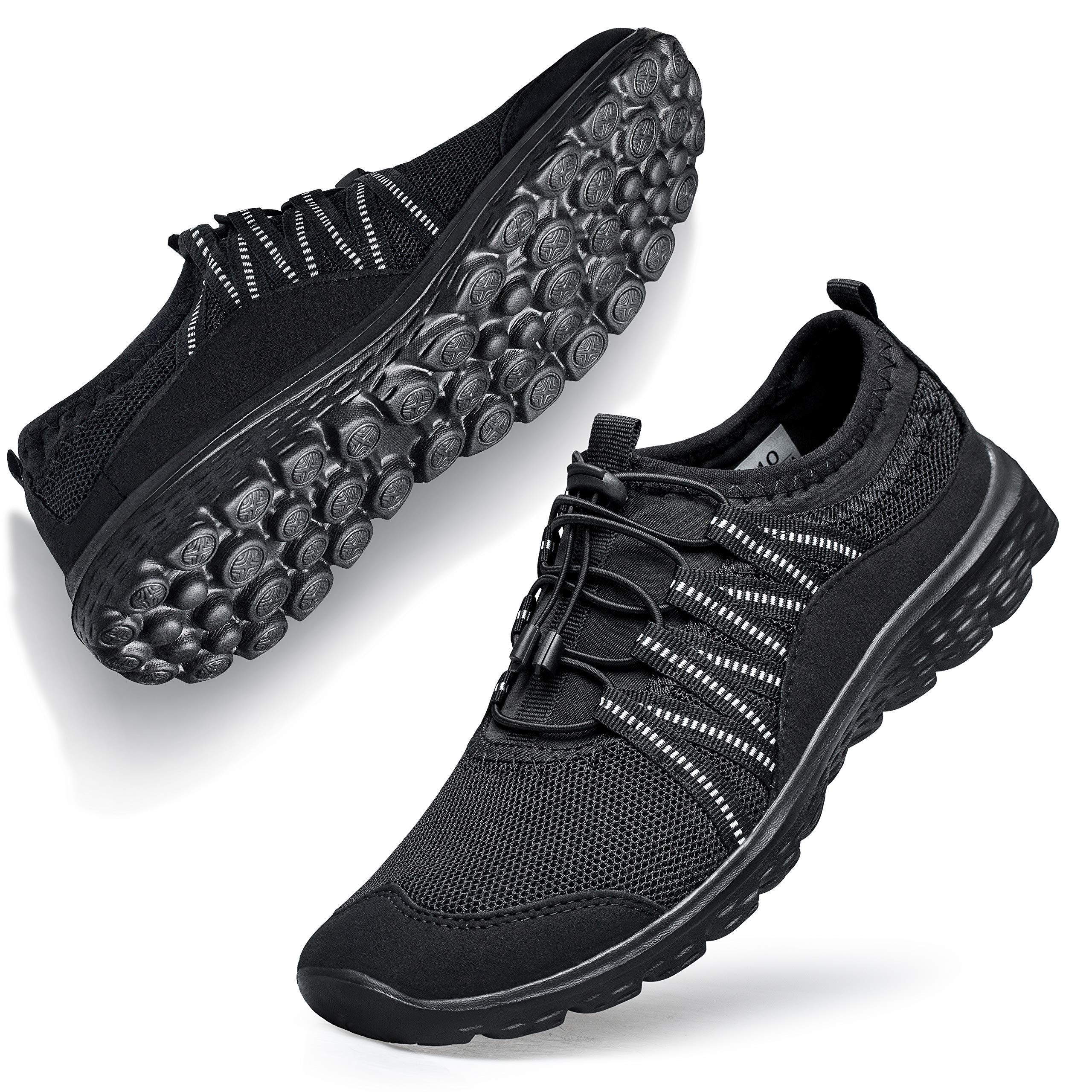 Walking Shoes for Women Sneakers Fashion Laceless go Walk Work Out Nursing Casual Gym Athletic Sport Travel Bowling Outdoor Indoor Shoes for Women All Black 10 M US by Belilent