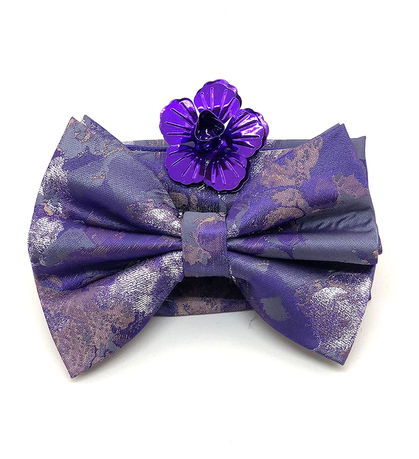 Big Bow Tie with Hankie and Metallic Flower Lapel Purple