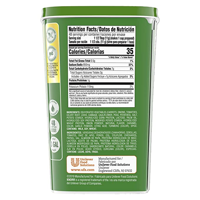 Knorr Professional Vegetable Soup Mix Vegetarian, No Artificial Flavors, No added MSG, 19.01 oz, Pack of 6