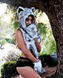iHeartRaves Husky Animal Hood, Hat, Scarf and Paw