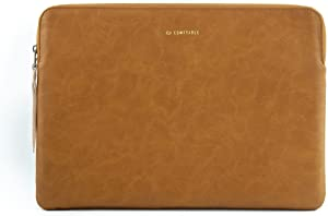 Comfyable Slim Protective Laptop Sleeve 13-13.3 Inch Compatible with 13 Inch MacBook Pro & MacBook Air, PU Leather Bag Waterproof Cover Notebook Computer Case for Mac, Yellow Brown