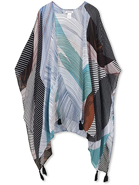 Moss Rose Women's Beach Cover up Swimsuit Kimono Cardigan with Bohemian Floral Print (Color37)