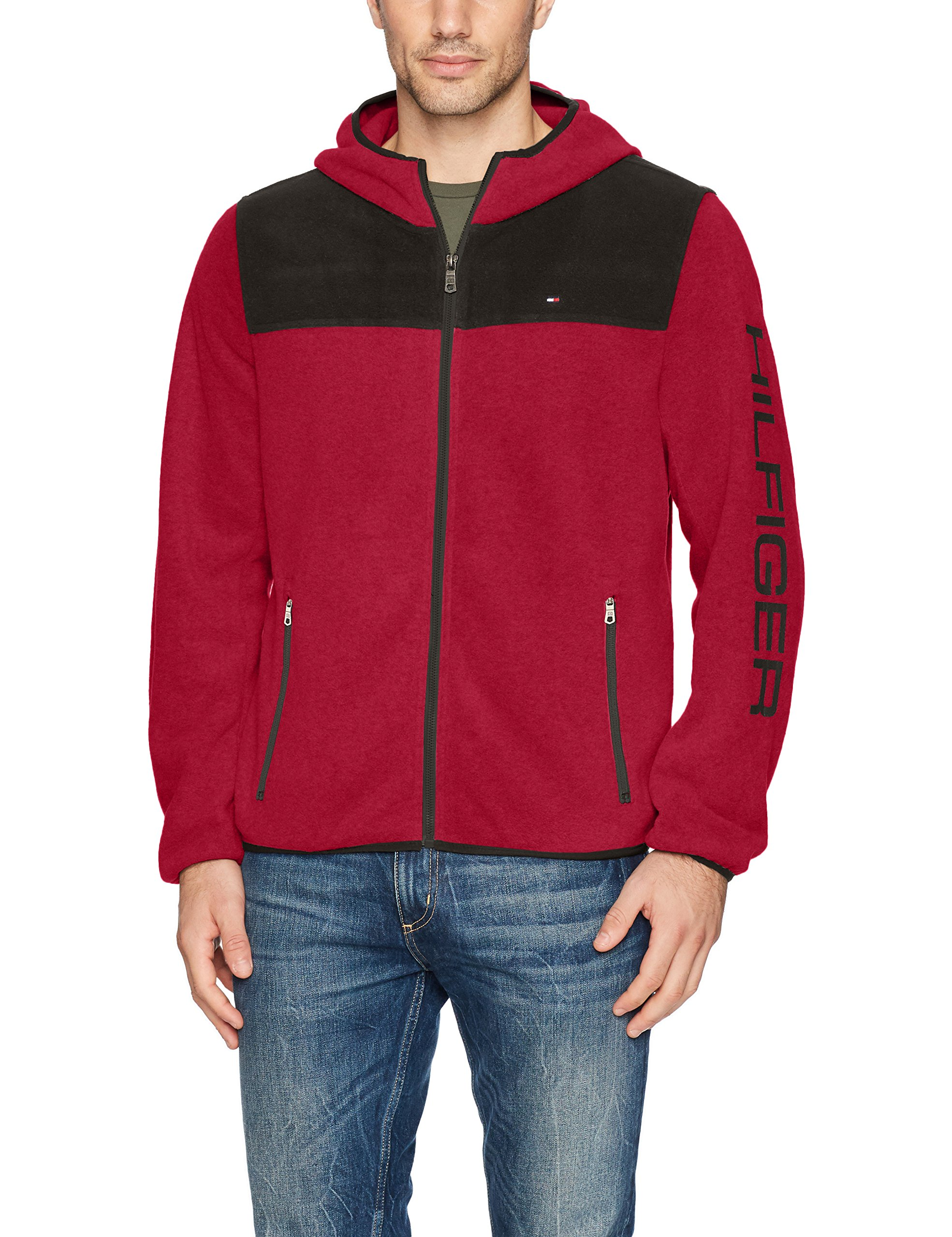 Tommy Hilfiger Men's Hooded Performance Fleece Jacket, Black/Red, Large by Tommy Hilfiger