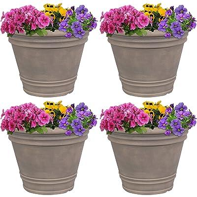Sunnydaze Franklin Flower Pot Planter - Outdoor/Indoor Unbreakable Polyresin Container - UV-Resistant Pebble Gray Finish - Set of 4 - Large 20-Inch Diameter : Garden & Outdoor