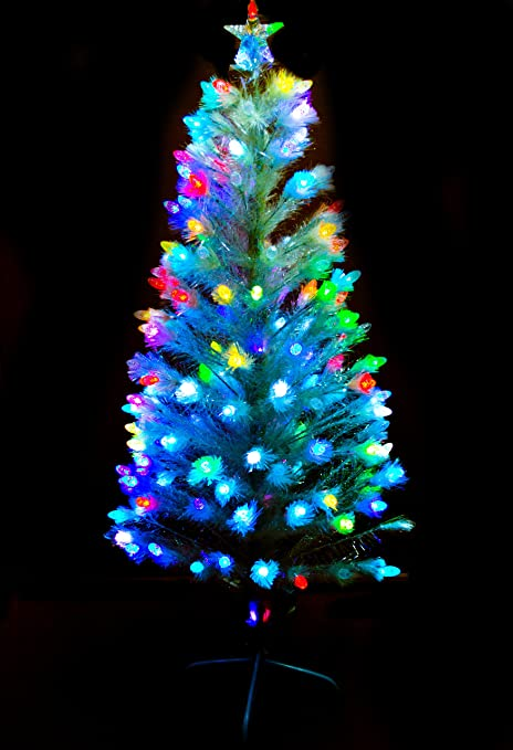 5ft 150cm Green Fibre Optic Christmas Tree With Multi LED - 5ft 150cm Green Fibre Optic Christmas Tree With Multi LED: Amazon.co