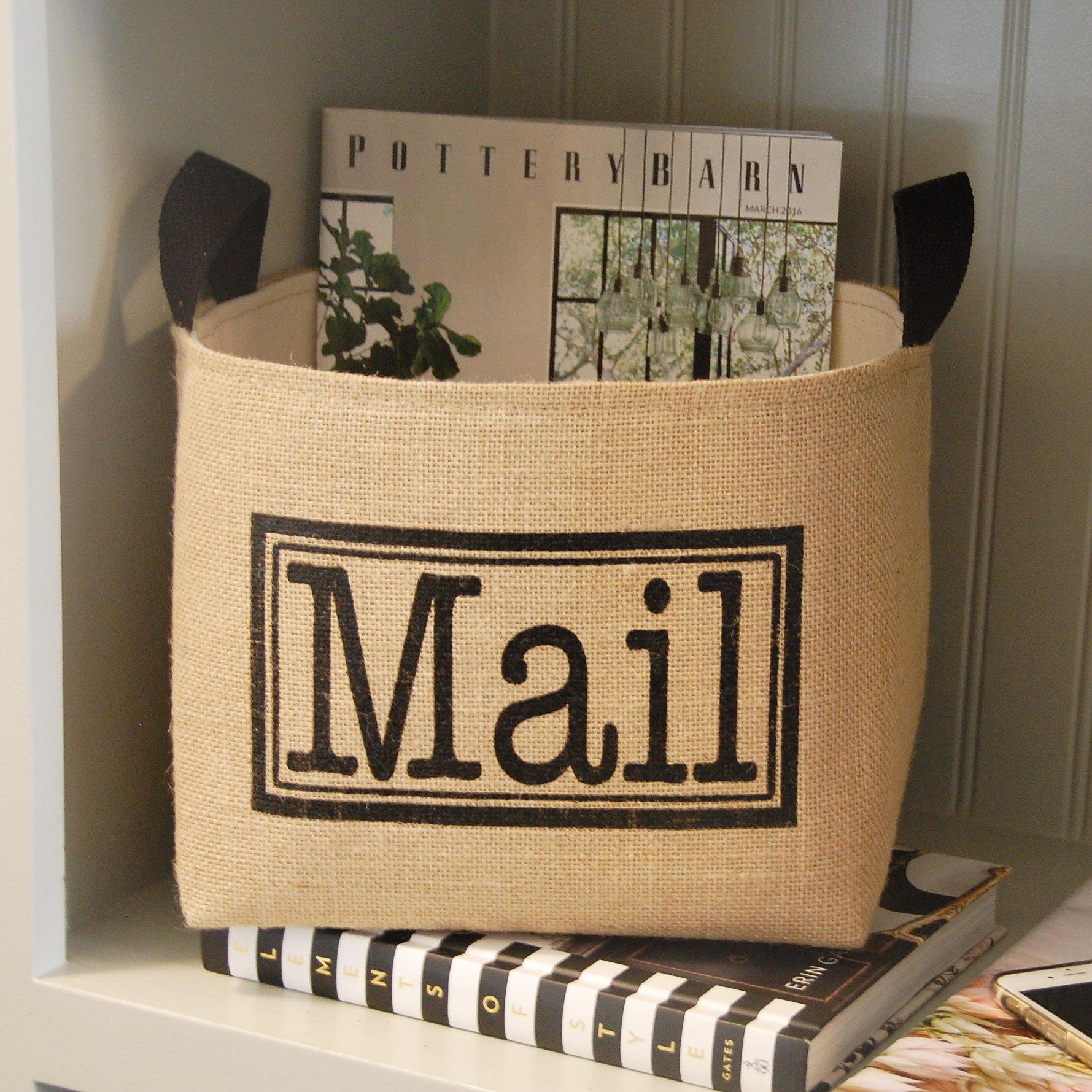 A Southern Bucket Mail Organizer Burlap Storage Basket, Black/Natural Jute/Unbleached Canvas