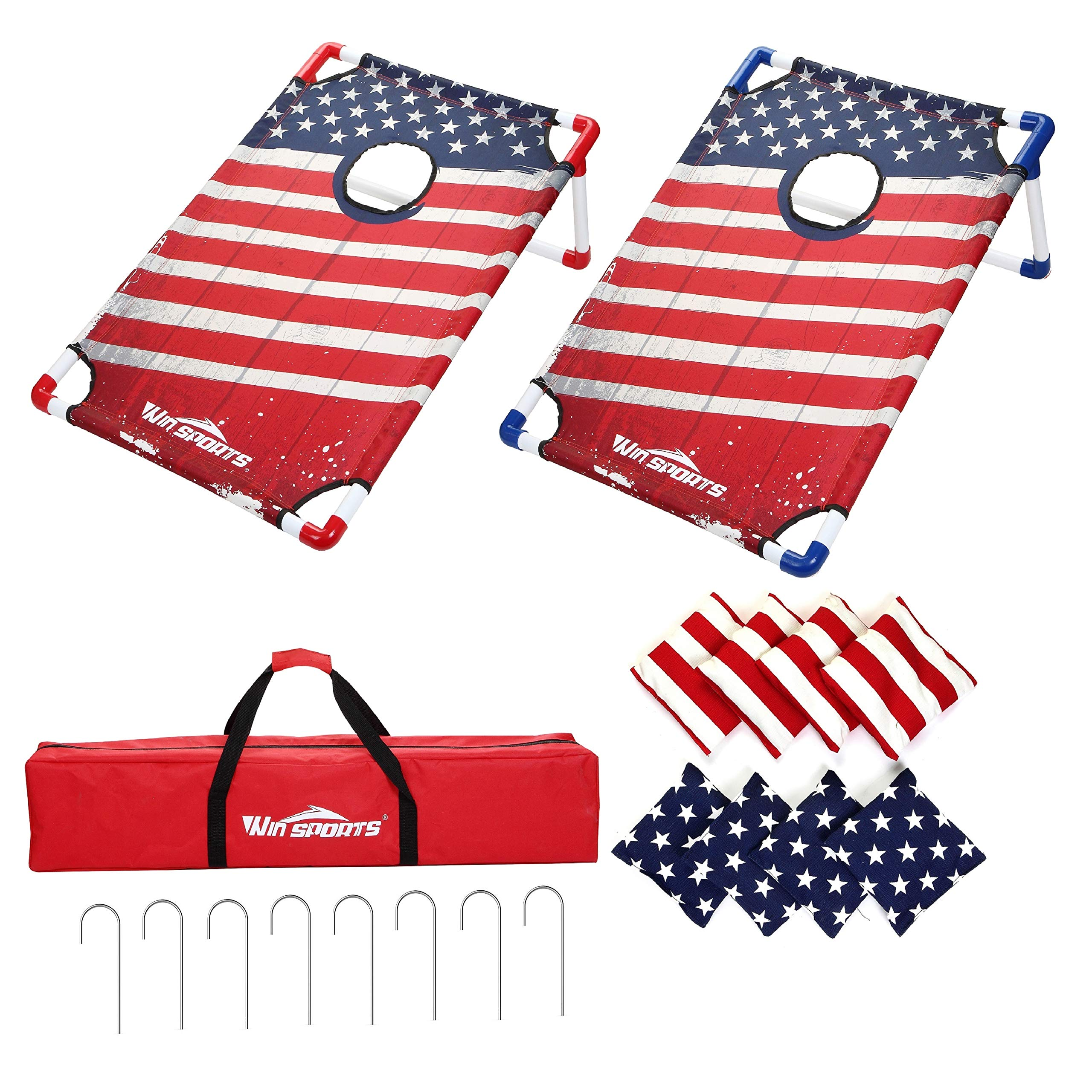 Win SPORTS Portable Assemble PVC Framed Cornhole Toss Game Set with 8 Bean Bags and Carrying Case(3 x 2-feet) - Choose Flag Design, Red & Blue (Flag Design) by Win SPORTS