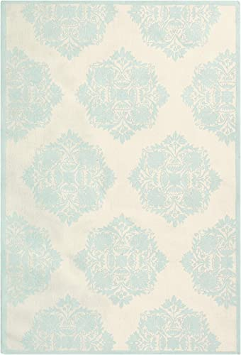 Safavieh Chelsea Collection HK359A Hand-Hooked Ivory and Blue Premium Wool Area Rug 8 9 x 11 9