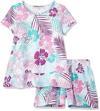 98b813fb19e5 RED WAGON Girl's Palm Print Peplum Top and Short Sleeve Pyjama Set:  Amazon.co.uk: Clothing