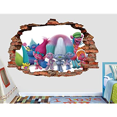 "Trolls Happy Brick Wall Decal Sticker - Kids Wall Decal Decor - Art 3D Vinyl Wall Decal - AH472 (Small (Wide 22"" x 12"" Height)): Home & Kitchen"