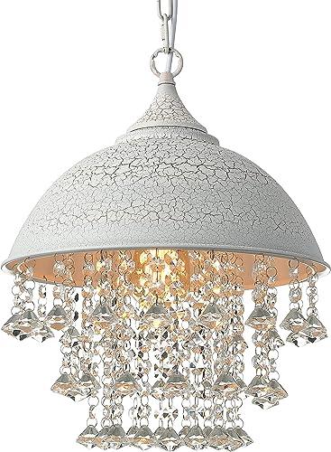 BAYCHEER Industrial Retro Style Wrought Iron Shaded Glittering Crystal Beads Hanging Pendant Light Lamp Ceiling Lighting Chandelier use E26 Light Bulb Socket, White