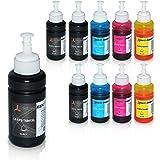 10 Tinten für Epson EcoTank L300 L350 L355 L365 L455 L550 L555 L565 L655 L100 L200 ET2550 ET2500 ET4500 ET4550 T6641 T6642 T6643 T6644, je 70ml