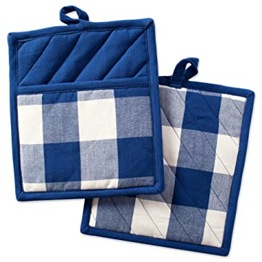 DII Buffalo Check Plaid Pot Holders with Pocket, Heat Resistant Pocket Mitts for Everyday Kitchen Cooking and Baking, Perfect for Holidays or Hostess & Housewarming Gifts (9x8  - Set of 2), Navy & Cream