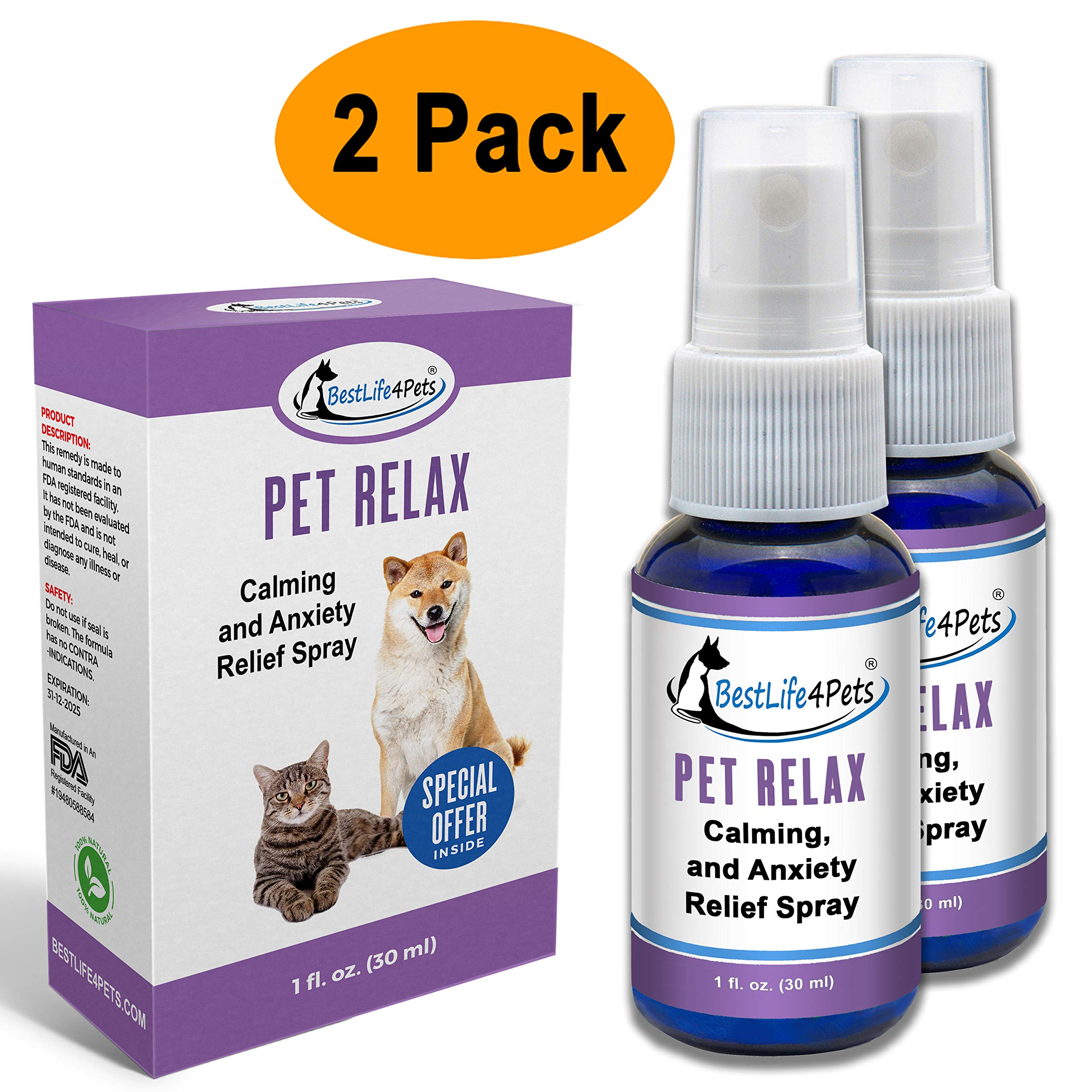 BestLife4Pets Calming Anxiety Relief for Dogs and Cats; All Natural Pet Stress Aid Eases Your Dogs and Cats Separation Anxiety, Calms Their Fears and Reduces Agression - 2 Pack by BestLife4Pets