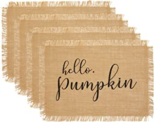 Elrene Home Fashions Farmhouse Living Fall Hello Pumpkin Burlap Placemat, Set of 4, 13