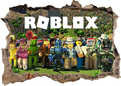Team Upgrade Roblox - Roblox Gang Team Characters 3d Smashed Wall View Sticker Poster Vinyl Mural Decal Art 752 50x35cm