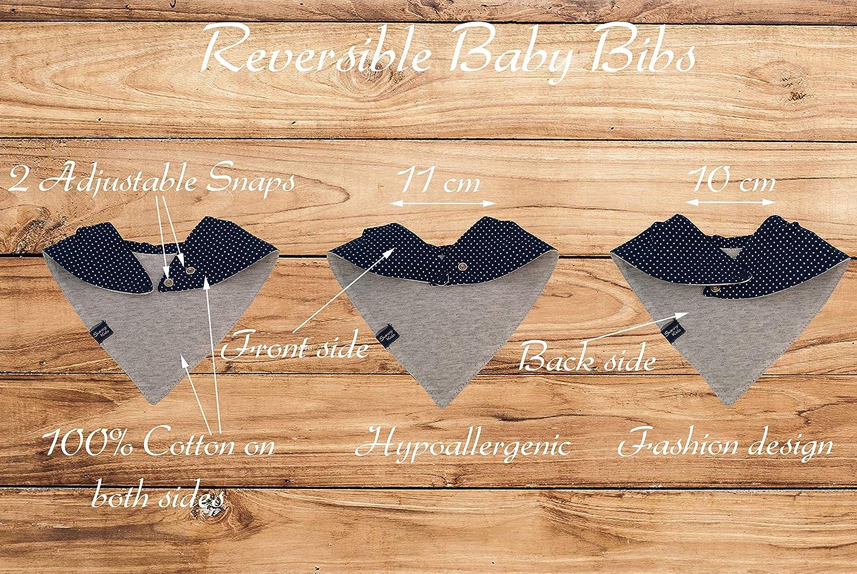 Reversible Baberos para Beb/é Algod/ón Org/ánico Ni/ños y Ni/ñas: Bandana triangulo Unisexos 4 piezas Suave