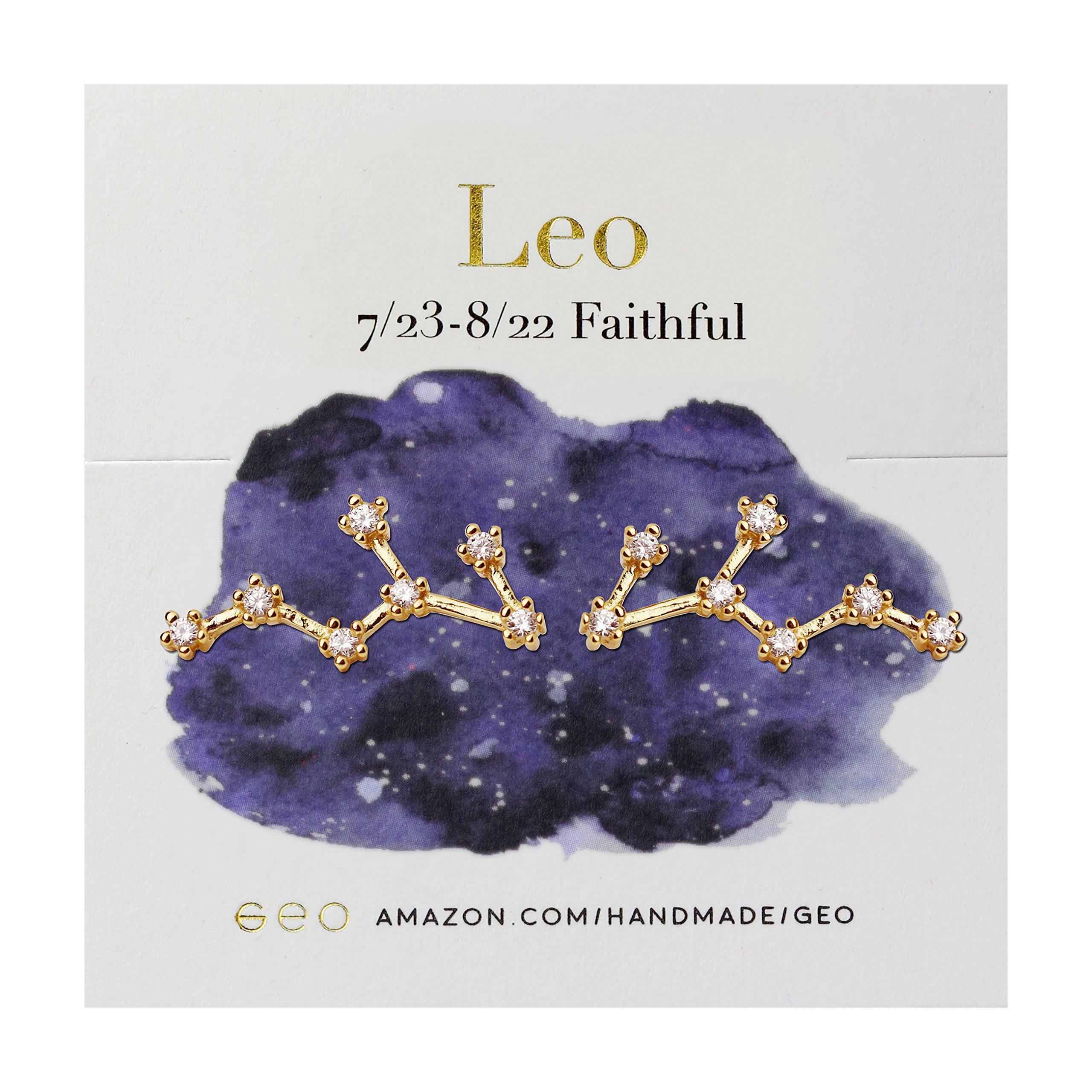 Gold Zodiac Constellation Earrings (Leo)