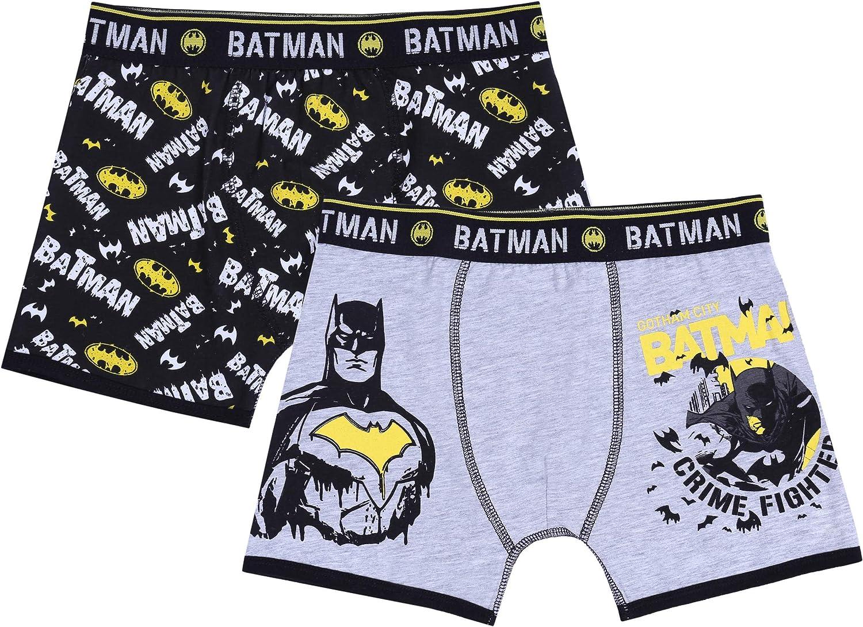 Underwear for Boys Batman DC Comics 2 x Black//Grey Trunk Fit Boxers