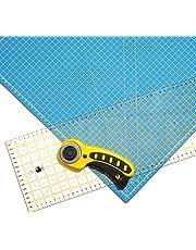 OfficeTree® Set de estera para corte - 60x45 cm (A2) azul + cortador