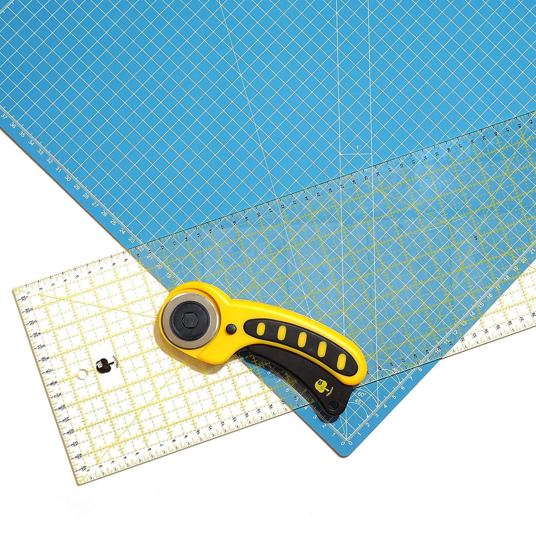 OfficeTree® Set tappetino per taglierina - 60x45 cm (A2) blu + taglierina circolare + righello da 60x16 cm - Qualità premium - Per lavori di taglio professionali iLP GmbH