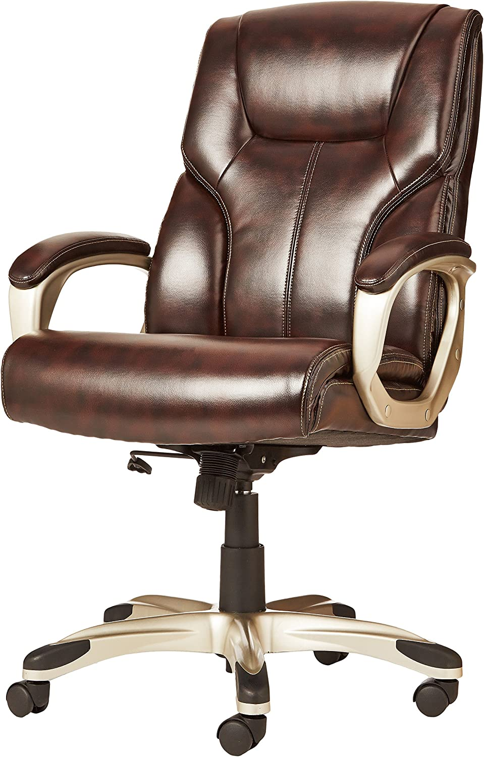 BIFMA Certified Basics High-Back Executive Swivel Office Desk Chair Brown with Pewter Finish