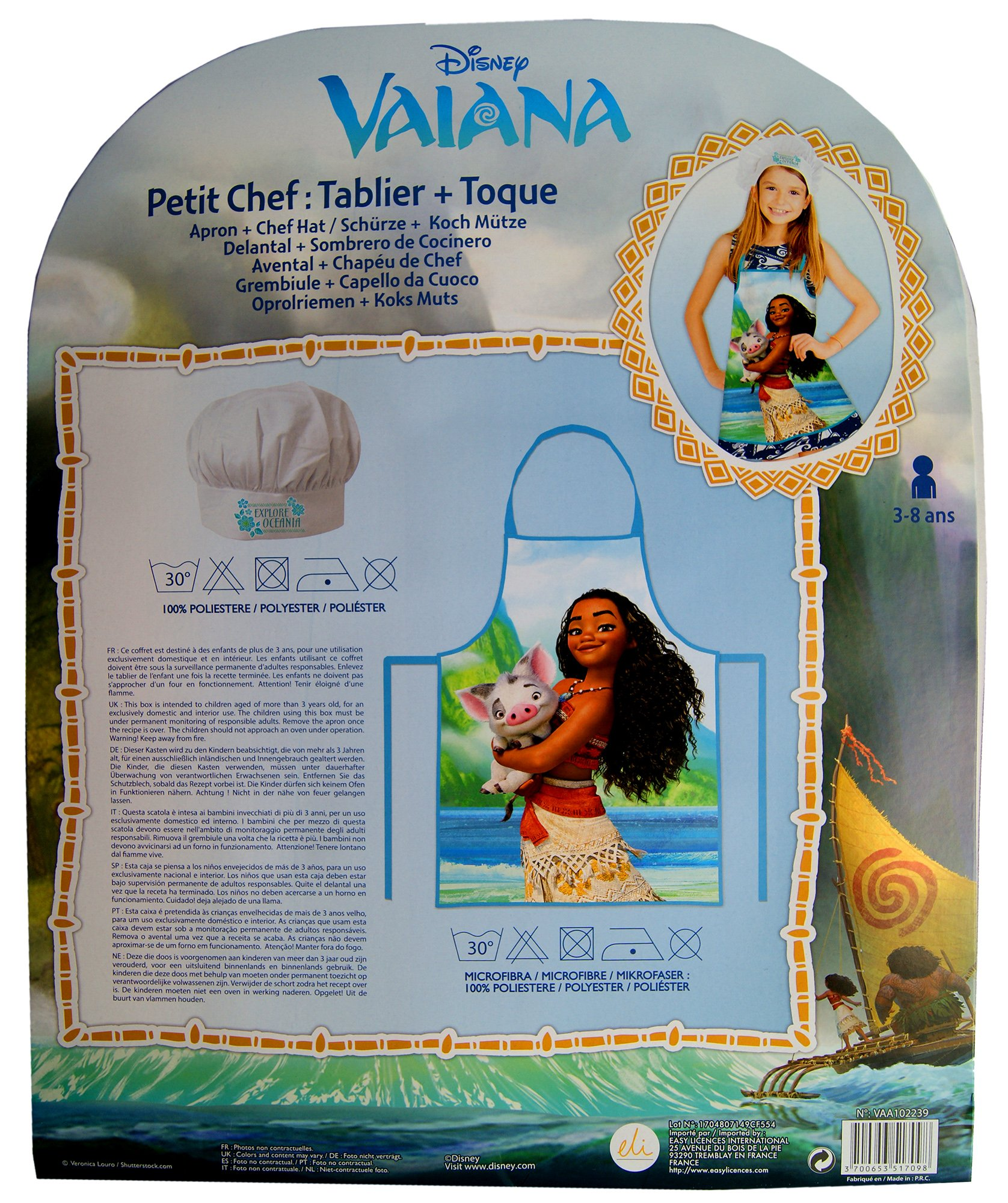 Disney Moana/Vaiana Apron and Chef's Hats Set, Officially Licensed. by Disney (Image #4)