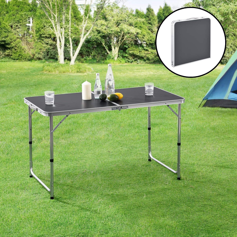 [casa.pro] Mesa Plegable Versátil 120 x 60 x 55/63/70 cm Altura Ajustable Mesa de jardín Mesa de pícnic Gris Oscuro