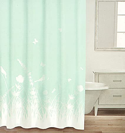Caro Botanical Nature 100 Cotton Shower Curtain Butterfly Birds Floral Branches Design Turquoise And