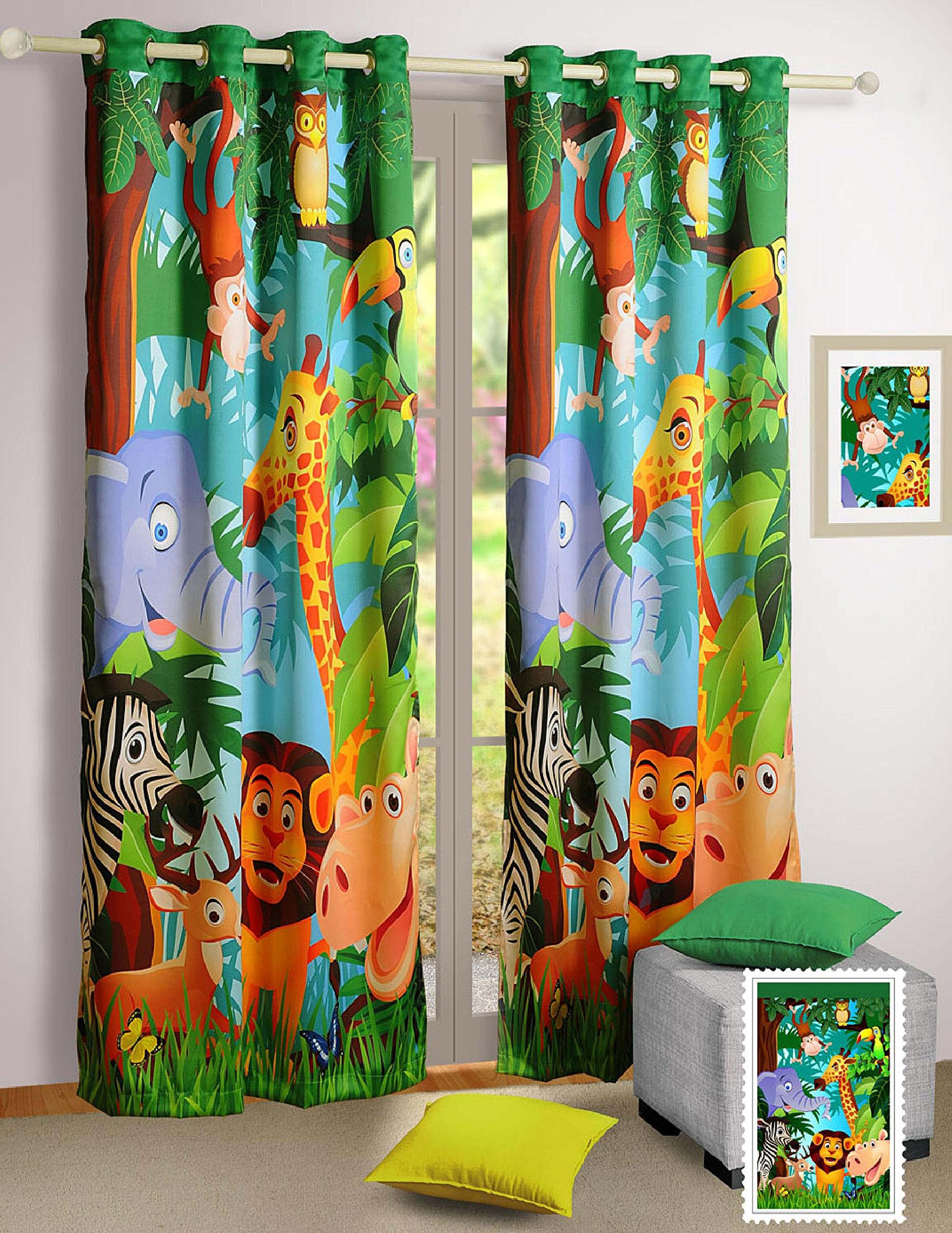 Blackout Poly Satin Fabric Jungle Animals Window Curtains - Set of 2 Curtain Panels for a Baby Nursery or Toddler or Kids Bedroom - 48'' x 60'' panels
