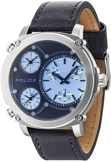 Police Reloj Multiesfera para Hombre de Cuarzo con Correa en Cuero PL14830JS.02