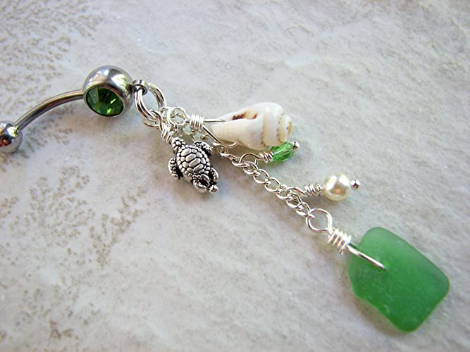 Amazon Com Cascading Long Sea Glass Belly Button Ring With Sea