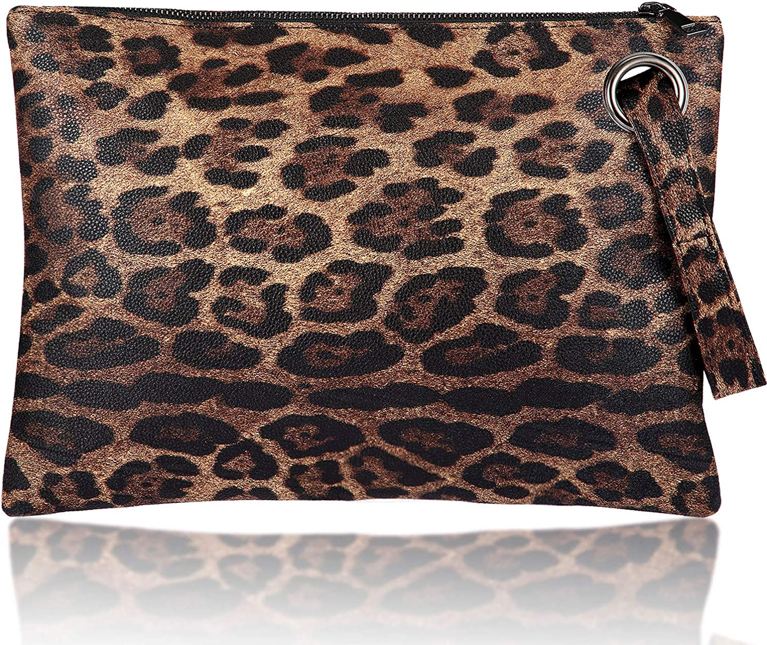 Women Leopard Oversized Clutch Purse Bag Pu Leather Envelope Retro Evening Wristlet Handbag