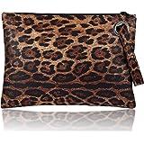 CHIC DIARY Womens Oversized Clutch Bag Purse Retro Leopard Envelope Evening Wristlet Handbag