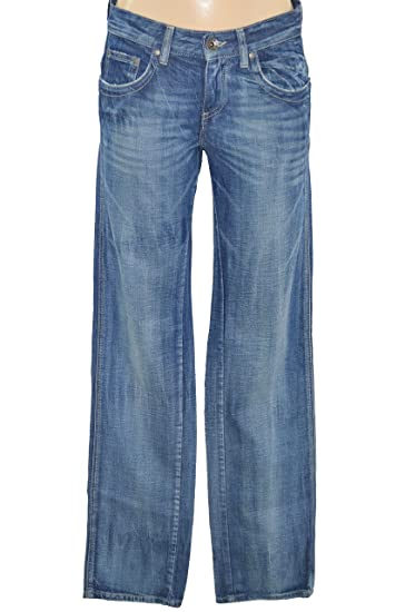 IKKS Jeans Damen Stretch – gerader Schnitt Regular – Jean Blau Stone Used –  Größe 34 5bcd250812
