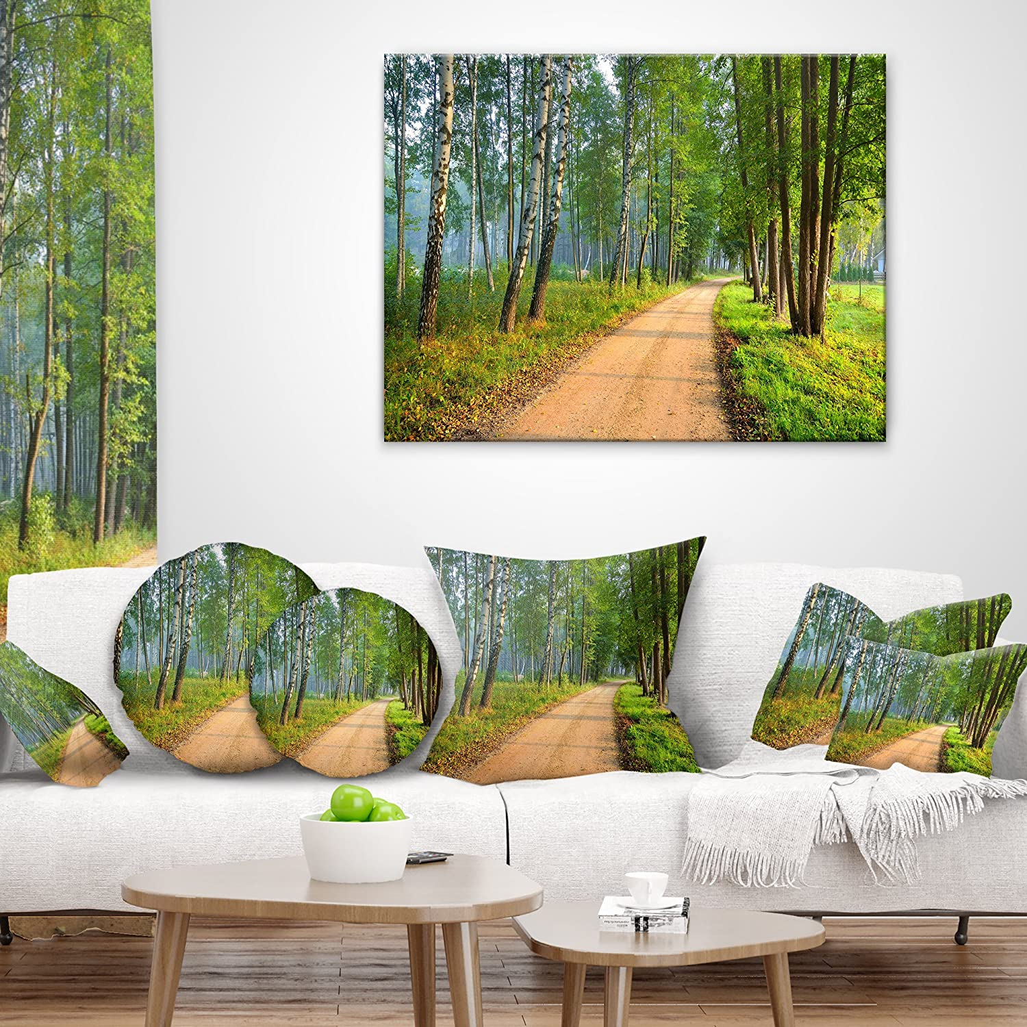 Sofa Throw Pillow 18 x 18 Designart CU9738-18-18 Road in Green Morning Forest Landscape Photo Cushion Cover for Living Room