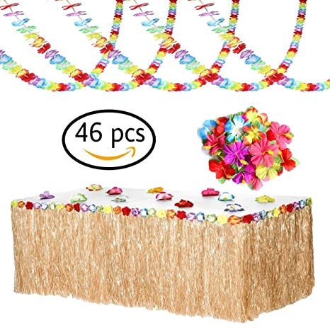Luau Party Supplies For Hawaiian Tropical Decorations Set Of Grass Table Skirts Flower Lei