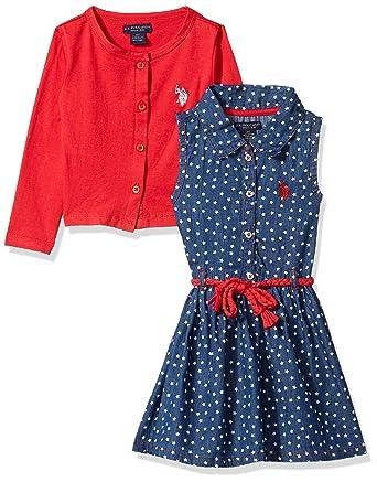 U.S. Polo Assn. Niñas Manga Corta Vestido Casual - Rojo - 3 años ...