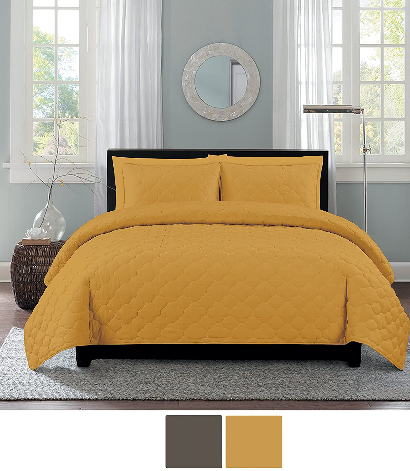 NC Home Fashions Catalina quilt set, Full/Queen, Spicy Mustard